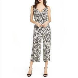 Leith Sleeveless Button Front Leopard Jumpsuit XL